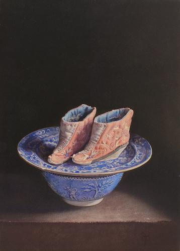 Lotusschoentjes-op-blauw-aardwerk-35-X-25 Stillevens